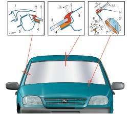 Схема установки ветрового стекла: 1 - облицовка; 2 - окантовка ветрового стекла; 3 - ветровое стекло; 4 - клеевой шов...