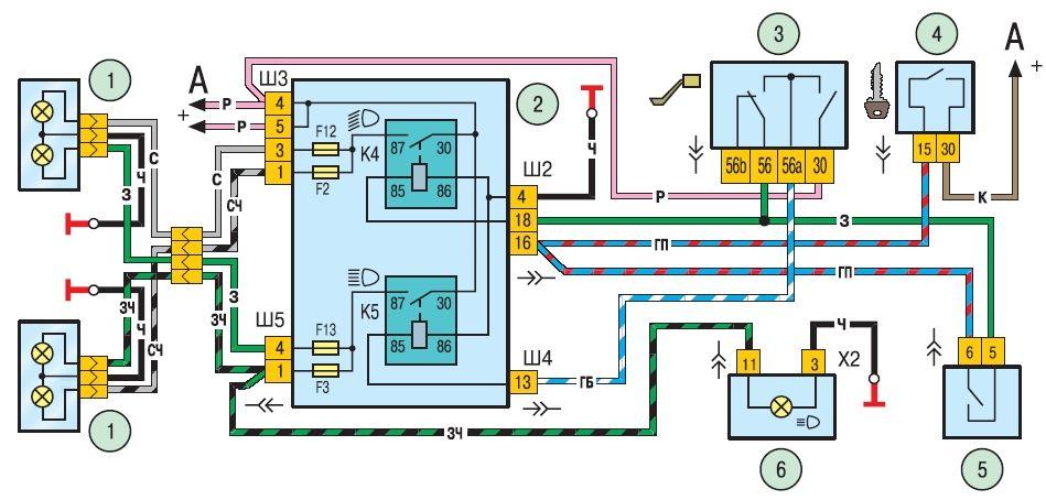 Схема электрического контура наружного освещения chevrolet niva 1 комбинация приборов 3 управление наружным...