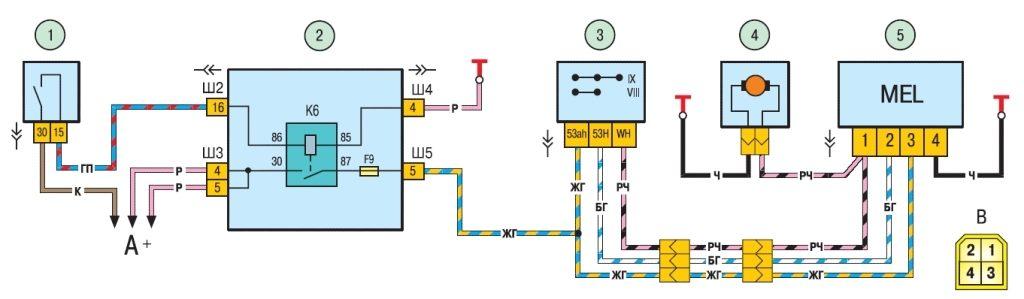 Схема включения очистителя и омывателя заднего стекла.