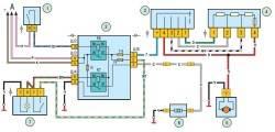 Схема включения электродвигателя вентилятора отопителя и элемента обогрева заднегостекла