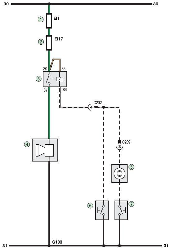 Схема звукового сигнала автомобиля 57