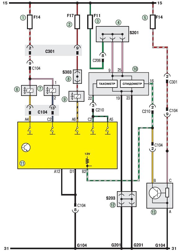 Электрическая схема системы управления двигателем Шевроле Ланос (Chevrolet Lanos) .