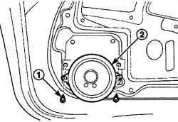 Расположение винтов (1) крепления динамика (2) в передней двери