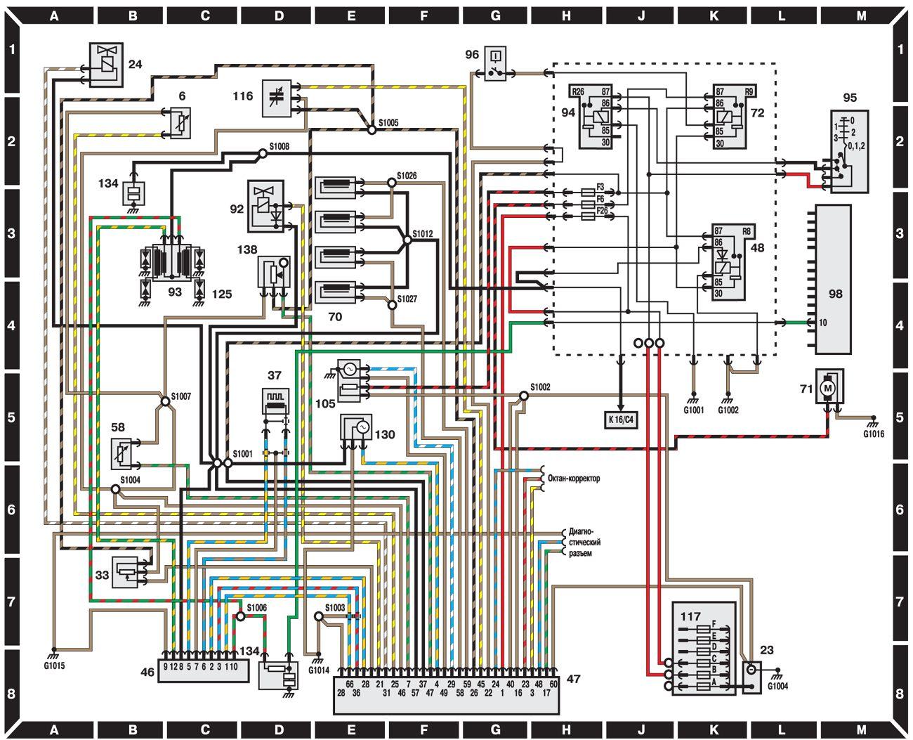 Рис. 1. Cхема электрическая принципиальная СИСТЕМЫ УПРАВЛЕНИЯ ДВИГАТЕЛЕМ 1,6 EF (модели выпуска до 1995 г.
