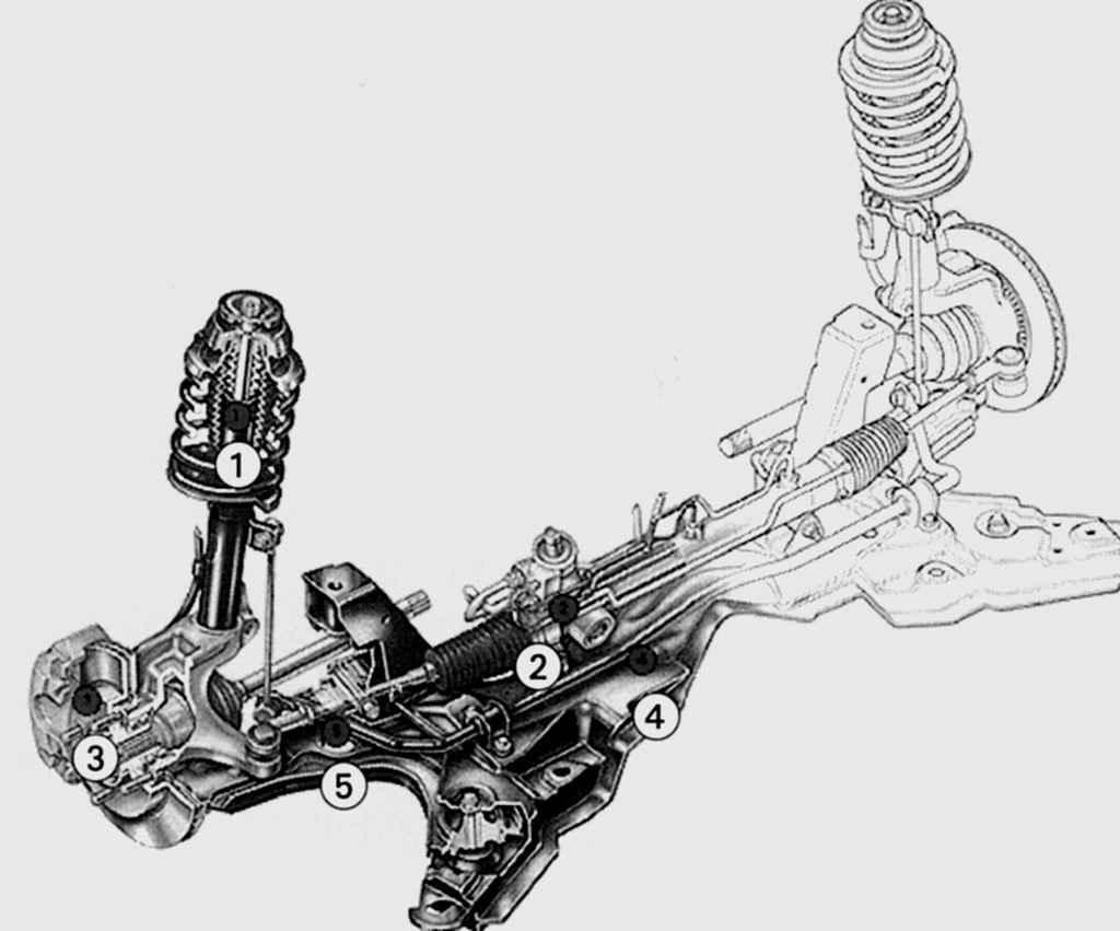Схема передней подвески форд