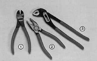 Бокорезы (1), универсальные пассатижи (2) и разводные плоскогубцы (3), с помощью которых можно согнуть, зафиксировать, повернуть и разъединить почти все детали в вашем автомобиле