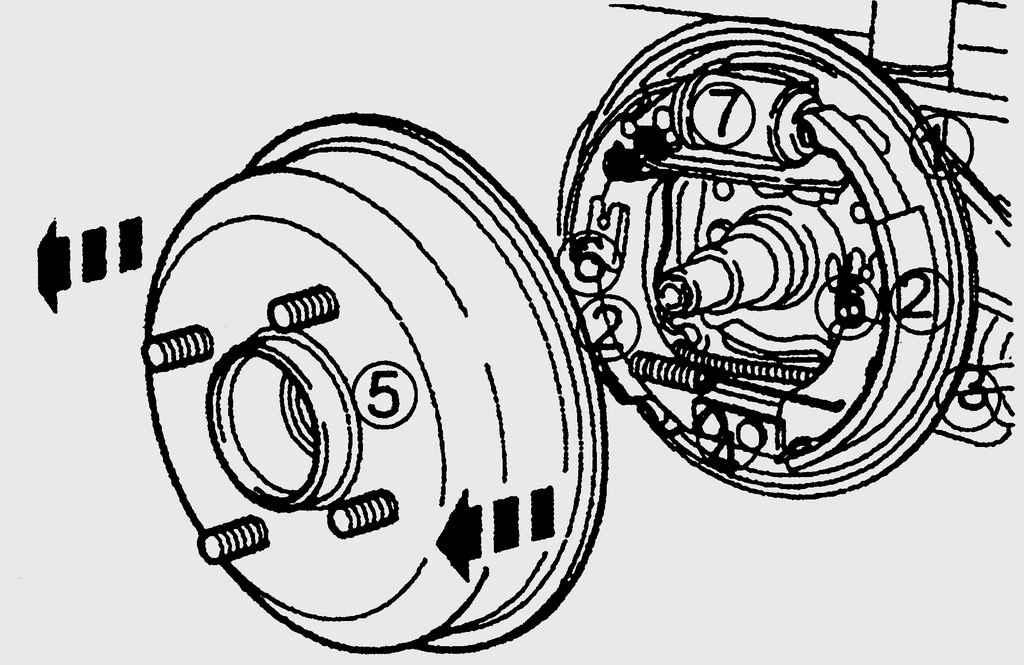 14.23. Барабанный тормозной приспособление заднего колеса: 1 - защитный кожух заднего тормоза; 2 - тормозная колодка...