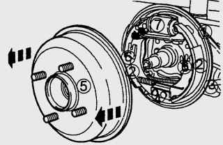 Барабанный тормозной механизм заднего колеса