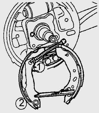 Отсоединение троса (1) стояночного тормоза от отжимающей тормозной колодки (2)