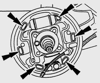 Расположение опорных мест тормозных колодок на защитном кожухе заднего тормоза