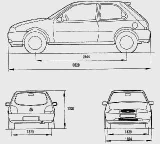Габаритные размеры автомобиля Ford Fiesta