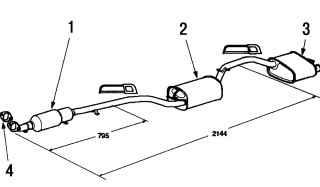 а. Система выпуска отработавших газов для двигателей с рабочим объемом 1,4 — 1,6 л