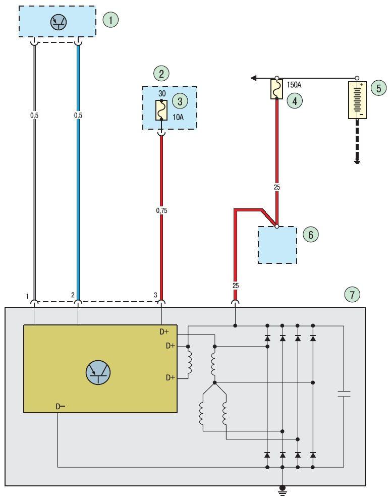 Рис 1. Электросхема соединений системы заряда аккумуляторной батареи Ford focus 2 и Ford focus 3. Соединения системы...