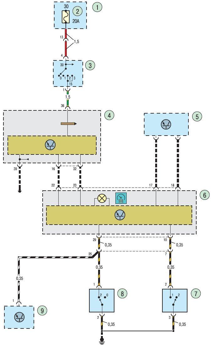 Рис1 Электросхема системы контроля скорости Ford focus 2 и Ford focus 3 с механической коробкой передач.