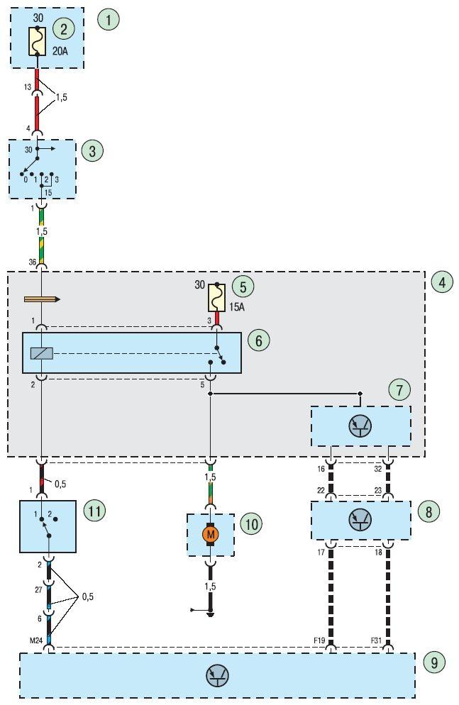 Основные элементы установленные в электросхеме подключения топливного насоса Ford focus 2 и 3. 1 - монтажный блок...