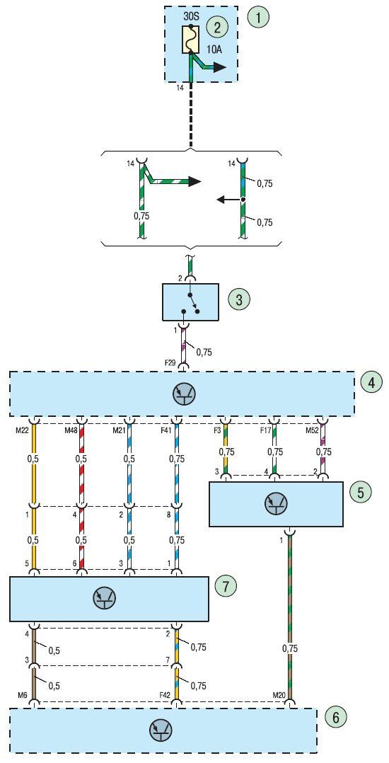 19.11. Схема 7г.  Соединения системы управления двигателем.