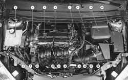 Подкапотное пространство автомобиля с двигателем 1,6 л Duratec Ti-VCT (вид сверху)