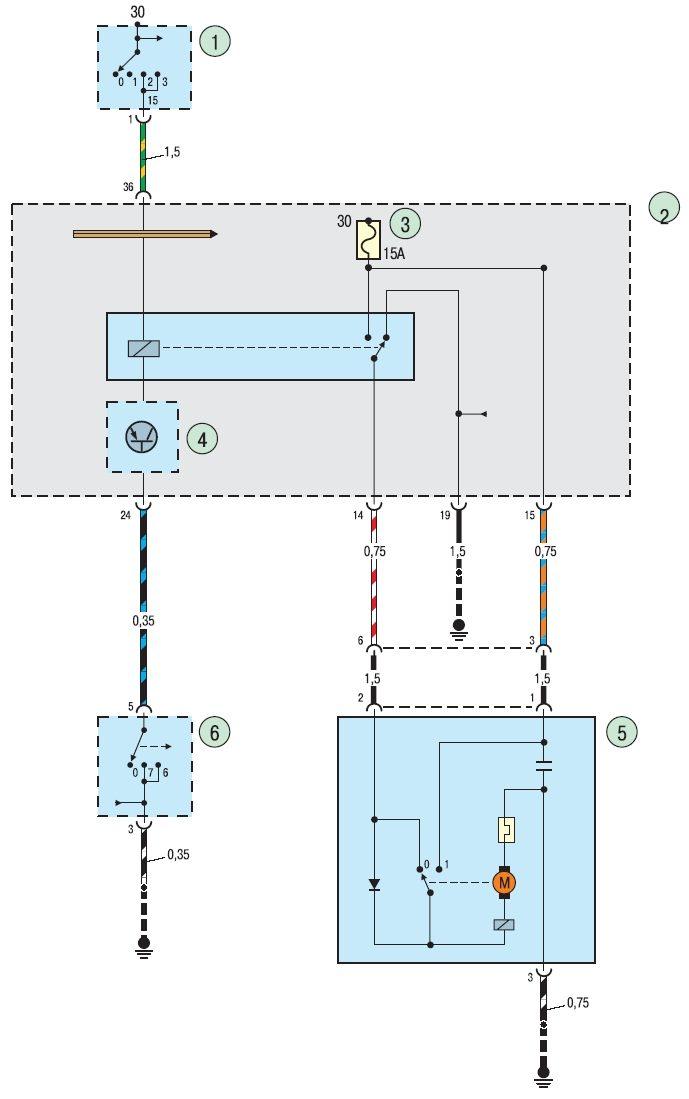 19.1. Схема 1. Соединения стеклоочистителя и стеклоомывателя ветрового стекла.