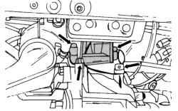 Крепление левого упора двигателя (двигатель V6)