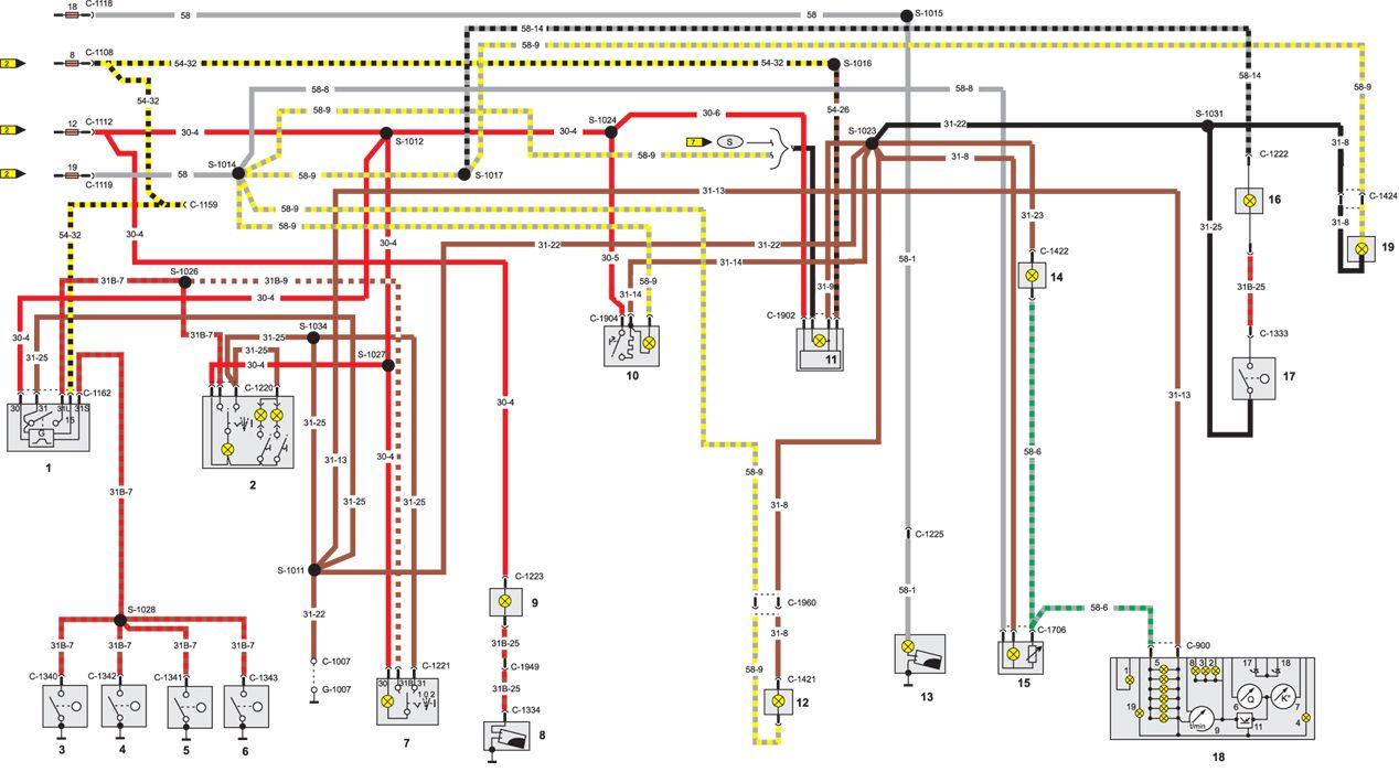 11.2.9 Электрическая схема автомобиля Opel Vectra.  Трасса 700 - 800.