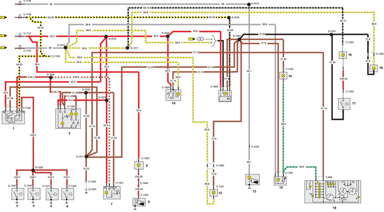 Схема электрического контура освещения салона Ford Sierra.