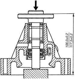 Напрессовка ступицы шкива насоса охлаждающей жидкости на вал