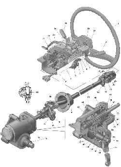 Рулевое управление: 1 — рулевое колесо; 2, 25 — подрулевой переключатель; 3 — стопорное кольцо; 4 — шайба; 5 — подшипник; 6 — пластмассовая втулка подшипника; 7 — выключатель (замок) зажигания; 8 — нижний кожух; 9 — вал рулевой колонки; 10 — карданный шарнир; 11 — клин; 12 — гайка