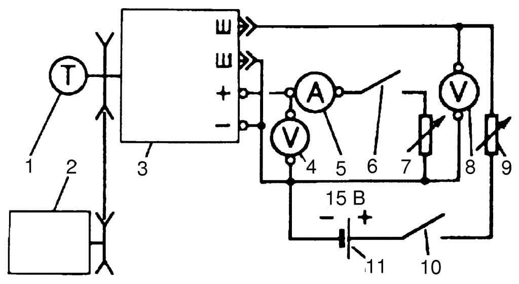 Схема проверки генератора на стенде: 1 - тахометр; 2 - электродвигатель; 3 - генератор; 4, 8 - вольтметр; 5...