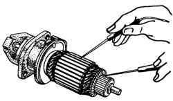 Проверка обмотки якоря стартера на короткое замыкание с магнитопроводом