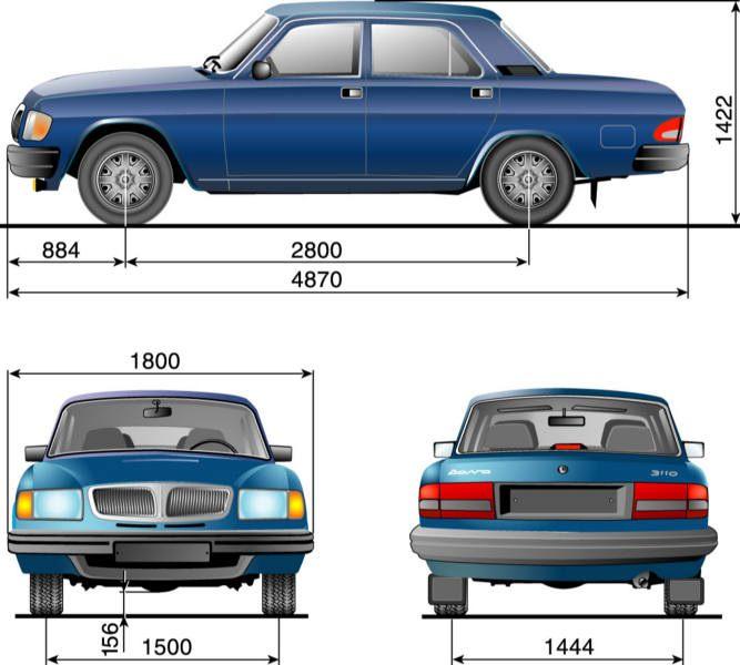 """ГАЗ-3110 и -310221 – заднеприводные автомобили, предназначенные для эксплуатации на дорогах с усовершенствованным покрытием.   Двигатель расположен под капотом в передней части автомобиля.   ГАЗ-3110 – легковой, с кузовом """"седан""""; ГАЗ-310221 – грузопассажирский, с кузовом """"универсал"""" (сиденья среднего и заднего ряда в сложенном состоянии образуют грузовую платформу).   Кузов – несущий, цельнометаллический.   Двигатели – четырехцилиндровые, рядные вертикальные, четырехтактные, бензиновые, объемом 2,3 и 2,445 л и мощностью от 90 до 145 л.с.   Расположение двигателя в моторном отсеке – продольное."""