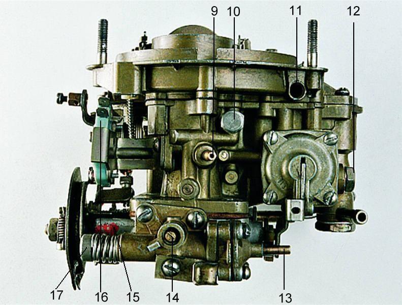 Волга ГАЗ 3110 ЗМЗ-402 Карбюратор К-151 устройство 9 - штуцер вакуумного управления клапаном рециркуляции...