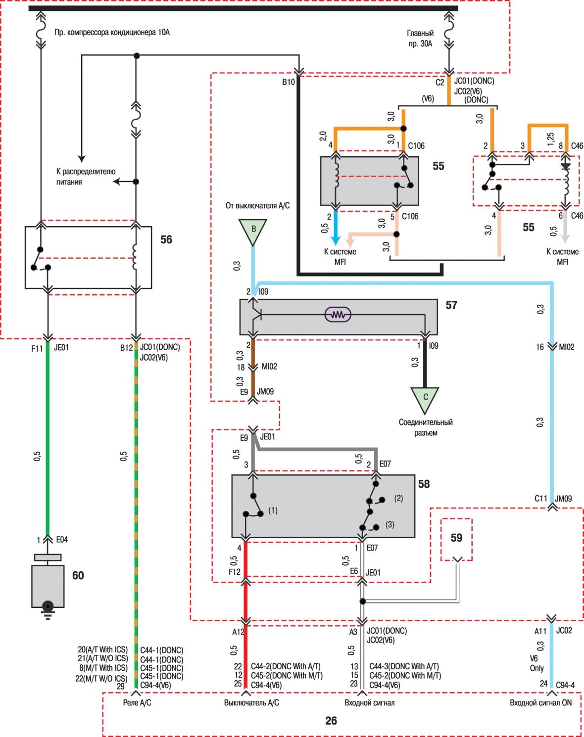 Схема электрооборудования хендай соната
