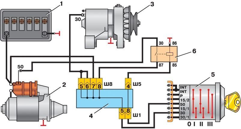 Здесь вы можете узнать про Схема подключения стартера ваз 2106 и.
