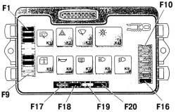 Расположение реле и предохранителей в монтажном блоке 2114. 3722 (367.3722)