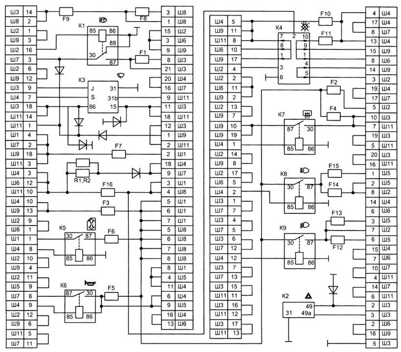 Подробная электрическая схема ваз 2131 электро схемы ваз 2131 подробная схема электрооборудования автомобиля лада...
