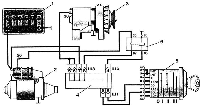 Схема подключения стартера на ваз 2106.