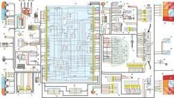 б. Схема электрооборудования автомобилей Иж-2717 и Иж-27171: 1 – аккумуляторная батарея; 2 – генератор; 3 – выключатель (замок) зажигания; 4 – реле стартера; 5 – реле включения электродвигателя вентилятора радиатора; 6 – стартер; 7 – блок управления системы ЭПХХ; 8 – катушка зажигания; 9 – распределитель зажигания; 10.1–10.4 – свеча зажигания; 11 – микропереключатель системы ЭПХХ; 12 – электромагнитный клапан системы ЭПХХ; 13 – переключатель наружного освещения; 14 – подрулевой переключатель; 15 – блок реле и предохранителей; 16.1, 16.2 – электропривод корректора фар; 17 – блок управления корректором фар; 18 – выключатель фонаря освещения вещевого ящика; 19, 20 – фонарь освещения номерного знака; 21 –патрон подсветки символов; 22 – фонарь освещения вещевого ящика; 23 – левая блок-фара; 24 – правая блок-фара; 25 – правый задний фонарь; 26 – левый задний фонарь; 27 – выключатель света заднего хода; 28 – плафон освещения салона; 29 – выключатель плафона освещения салона; 30 – выключатель противотуманного света; 31 – выключатель стоп-сигнала; 32 – выключатель аварийной сигнализации; 33 – реле задних противотуманных фонарей; 34, 35 – боковой указатель поворота; 36 – звуковой сигнализатор указателя поворота и стояночного тормоза; 37 – выключатель звукового сигнала; 38 – звуковой сигнал; 41 – комбинация приборов; 41.1 – тахометр; 41.2 – спидометр; 41.3 – указатель уровня топлива; 41.4 – указатель температуры охлаждающей жидкости; 41.6 – контрольная лампа включения центрального переключателя наружного освещения; 41.7 – контрольная лампа закрытия воздушной заслонки карбюратора; 41.8 – сигнальная лампа аварийного падения давления масла; 41.9 – сигнальная лампа аварийного состояния тормозной системы; 41.10– сигнальная лампа разряда аккумуляторной батареи; 41.11 – контрольная лампа включения левого указателя поворота; 41.12– контрольная лампа включения правого указателя поворота; 41.13 – лампа контроля двигателя; 41.14 – сигнальная лампа падения уровня тормозной жидкости; 41.15