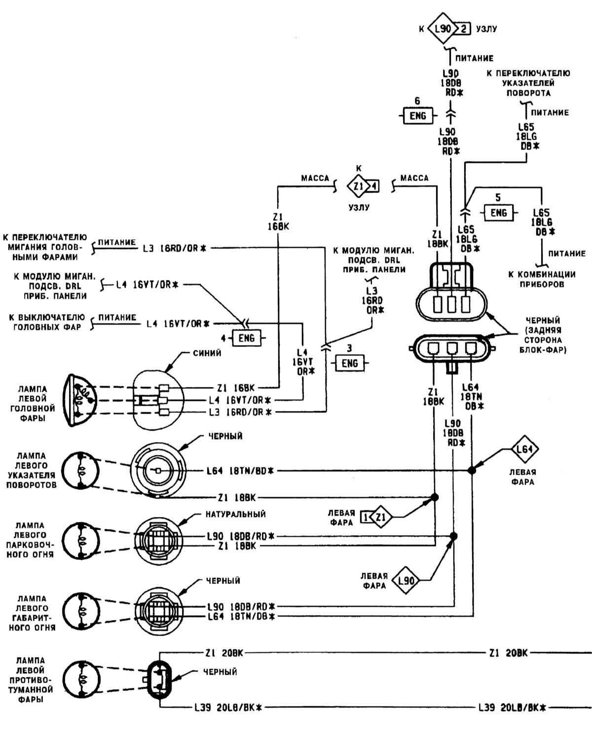 Эл.схема контура выключателя головных фар на Джип Чероки.