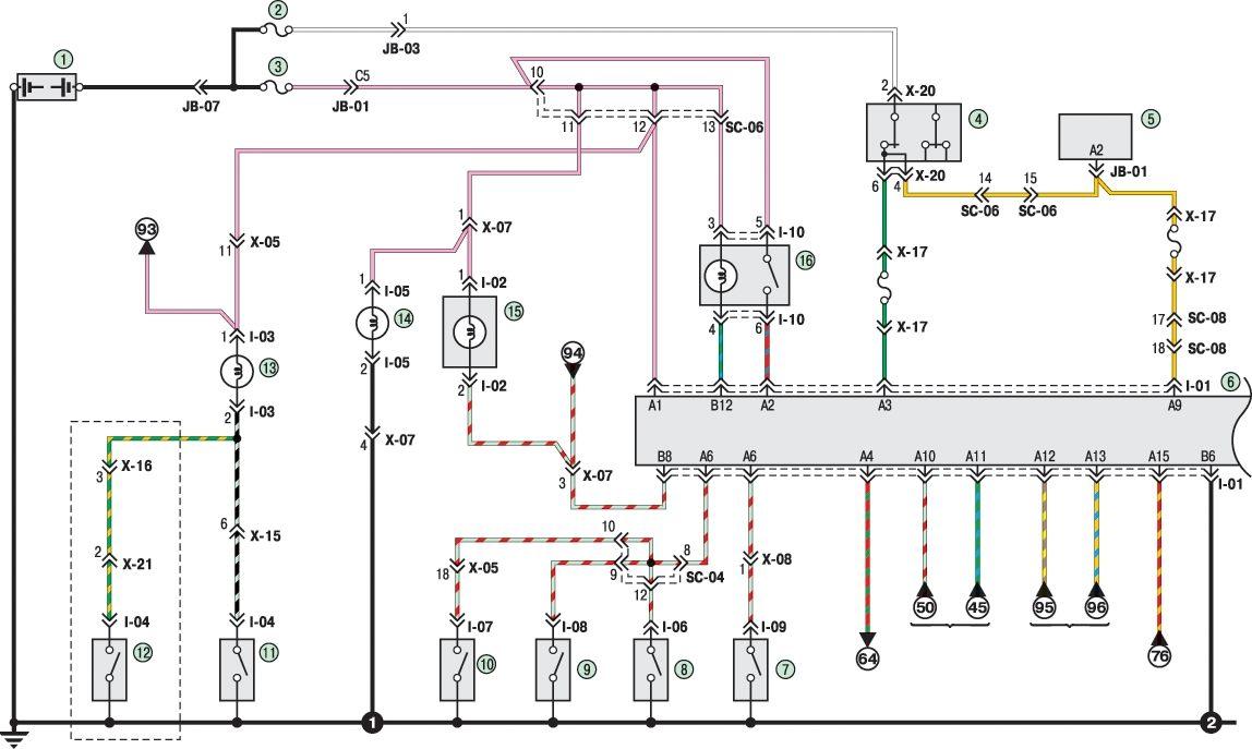 Схема электрическая kia spectra соединения.