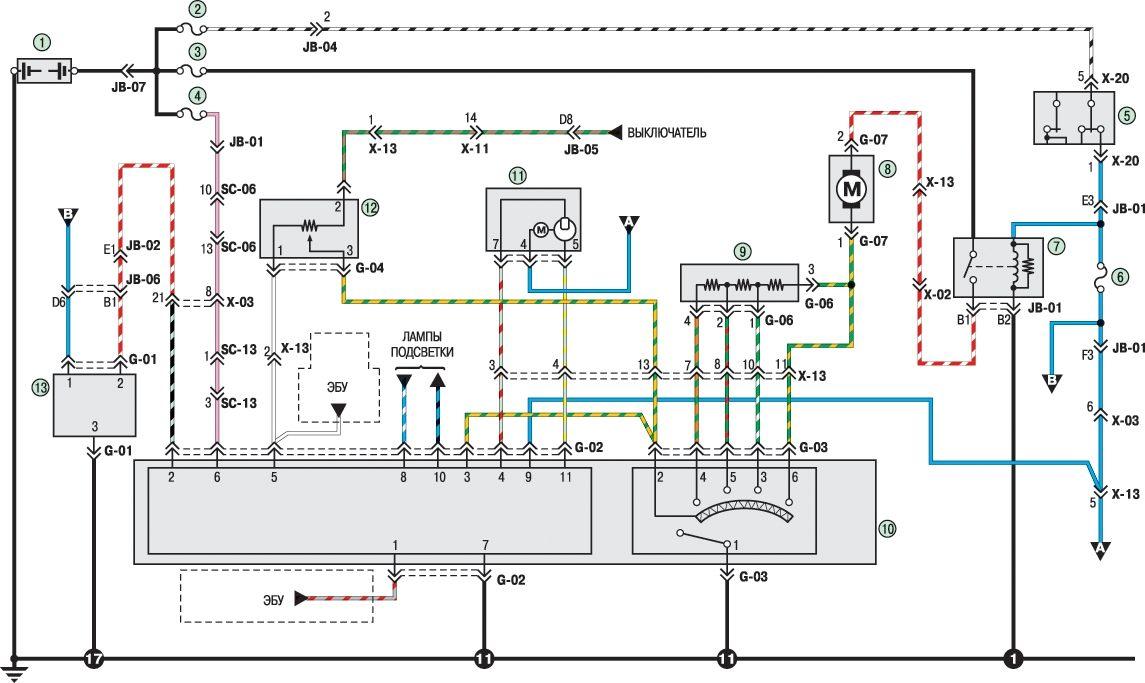 Система отопления и кондиционирования.  Схема электрическая принципиальная автомобиля KIA Spectra...