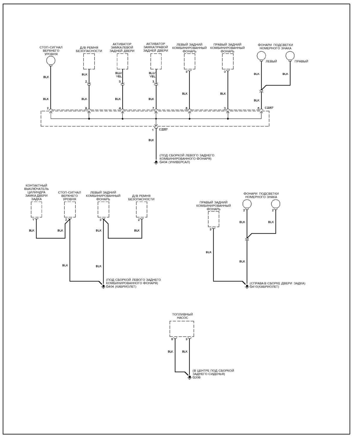 Ремонт и обслуживание/ Kia Sportage 1999-2002 15.2 Распределение заземления.