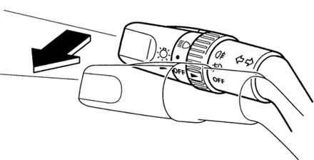 Схема сигнализации дальним светом фар.  Поворотная рукоятка центрального выключателя освещения может...