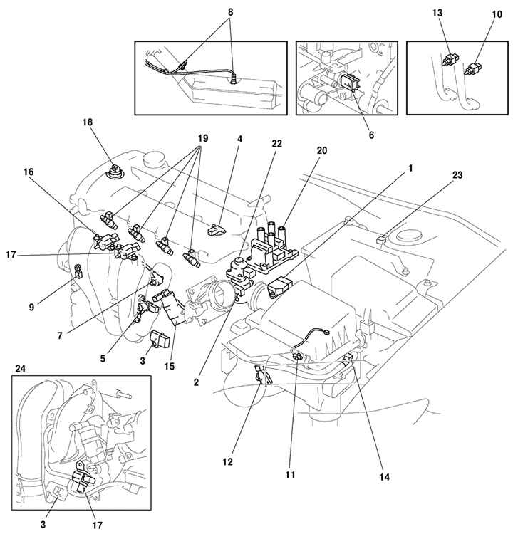 Схема расположения датчиков в автомобиле