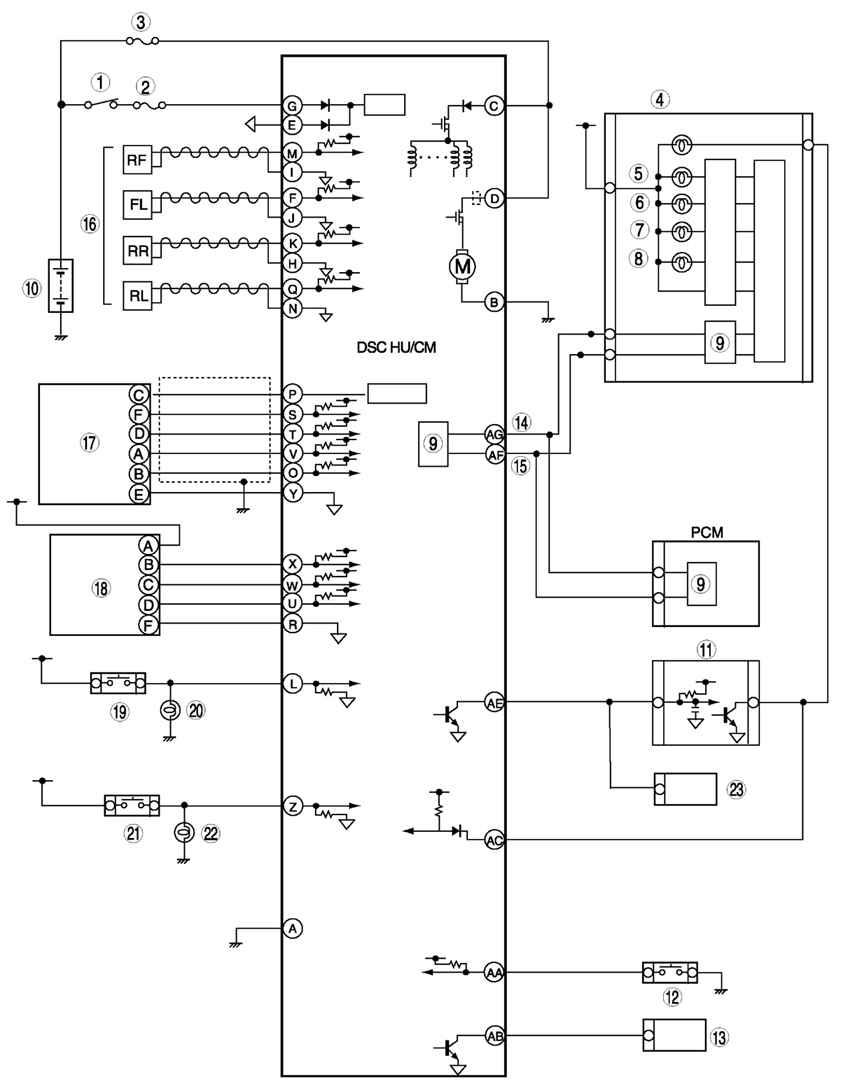 Монтажная схема системы DSC HU/CM блока PCM автомобиля Мazda 6: 1 - выключатель IG; 2 - плавкий предохранитель SUS...