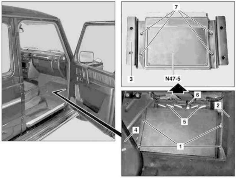 Мерседес-Бенц 463  Снятие и установка модулей управления ABS / EBV