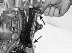Снятие верхней направляющей цепи привода