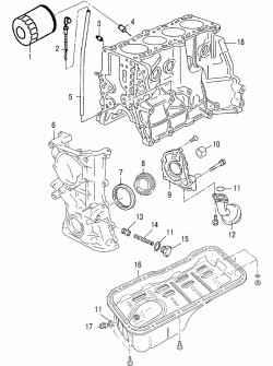 Детали системы смазки двигателей GA14DE и GA16DE