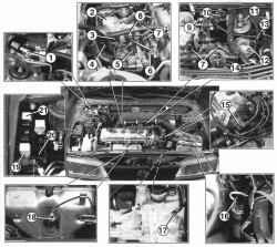 Размещение агрегатов КСУД двигателей GA14DE и GA16DE в моторном отсеке
