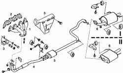 Детали системы выпуска отработавших газов: I - двигатель CD20; II - двигатель CD20E
