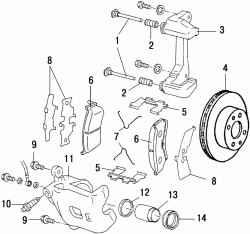 Тормозной механизм передних колес типов CL22VD и CL22VE